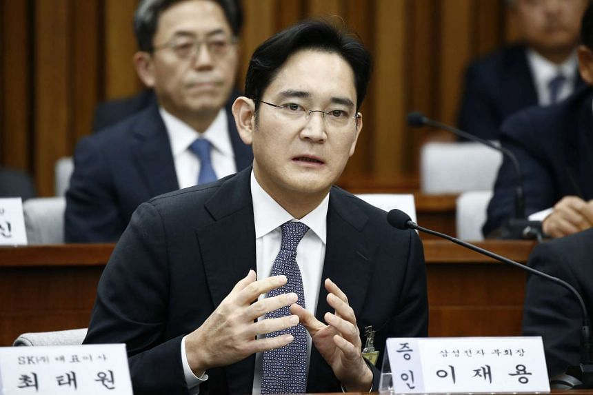 Mr Jay Y. Lee, vice-chairman of Samsung Electronics answering questions during a parliamentary hearing over the Choi Soon Sil gate at the National Assembly in Seoul, South Korea.