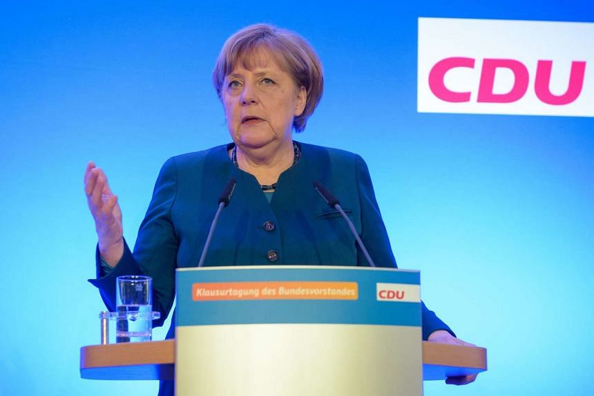 German Chancellor Angela Merkel speaks during a press conference following a meeting of leaders of her centre-right Christian Democratic Union on Jan 14, 2017 in Perl, western Germany.