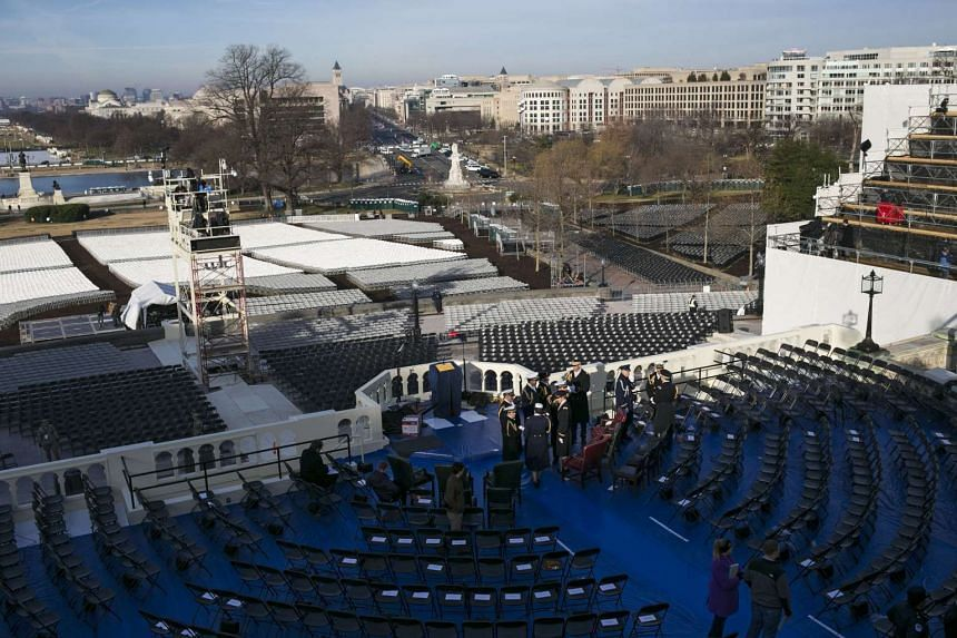 Preparations and activities on the day of a rehearsal for President-elect Trump's inauguration, on the west side of the US Capitol in Washington on Jan 15, 2017.
