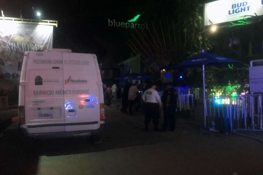 Mexican police investigate at a nightclub near the beach in Playa del Carmen, Mexico, on Jan 16, 2017.
