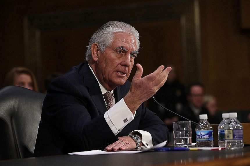 Secretary of state nominee Rex Tillerson (above) has called for Beijing to be denied access to its artificial islands in the South China Sea, but retired General James Mattis (below), nominee for defence secretary, did not endorse Mr Tillerson's mess