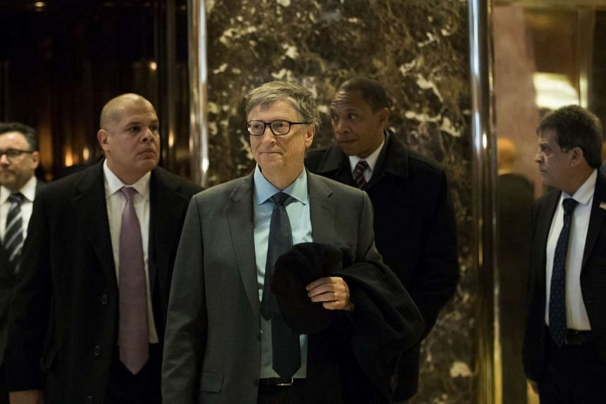 Businessman Bill Gates, seen here at Trump Tower in New York City on Dec 13, 2016, is among the richest eight individuals in the world.