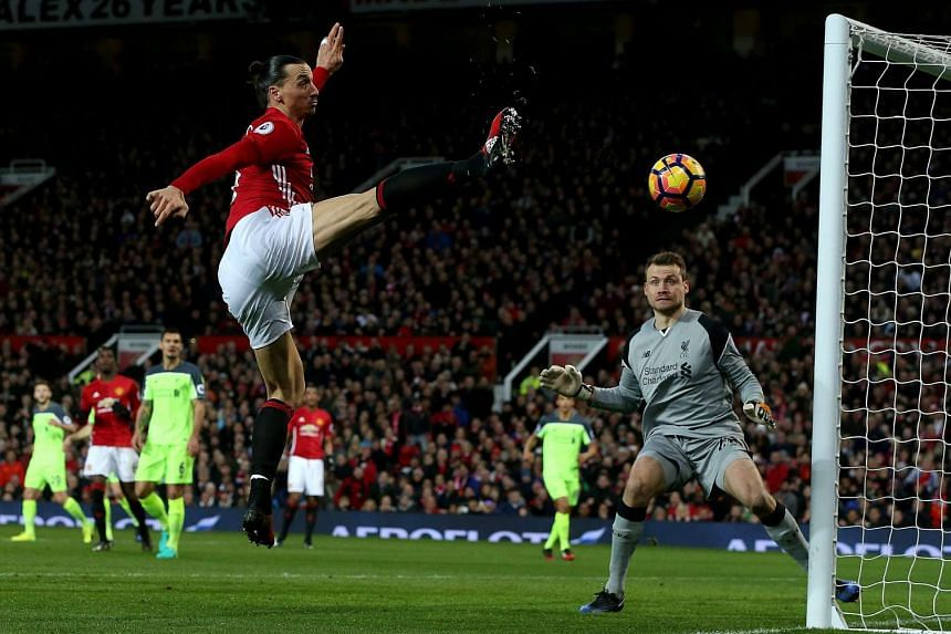 Zlatan Ibrahimovic (centre) in action during the match between Manchester United and Liverpool on Jan 15, 2017.