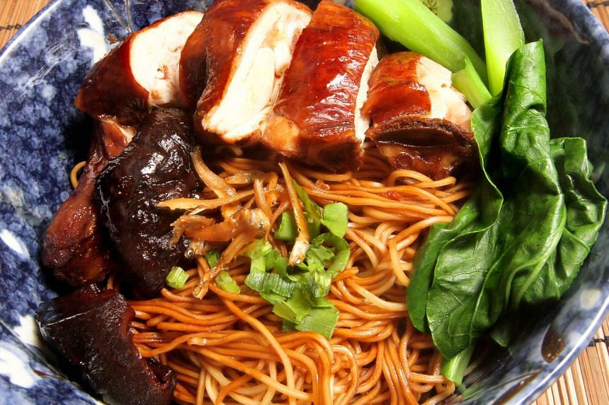 Soy sauce chicken noodles.