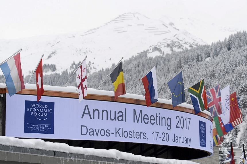 View of the entrance to the Congress Centre where preparations are taking place for the upcoming 47th Annual Meeting of the World Economic Forum (WEF) in Davos, Switzerland, on Jan 15, 2017.