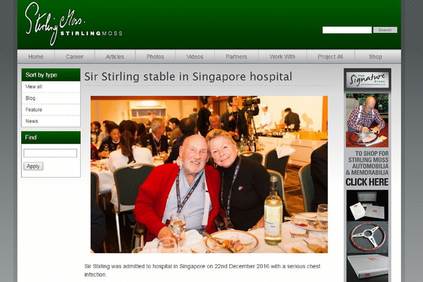 Sir Stirling Moss was taken to hospital on Dec 22, having travelled out to Singapore to start a cruise with his wife.