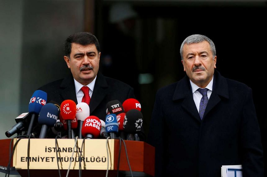 Istanbul Governor Vasip Sahin (left), accompanied by police chief Mustafa Caliskan, talks to the media at the police headquarters in Istanbul, Turkey on Jan 17, 2017.