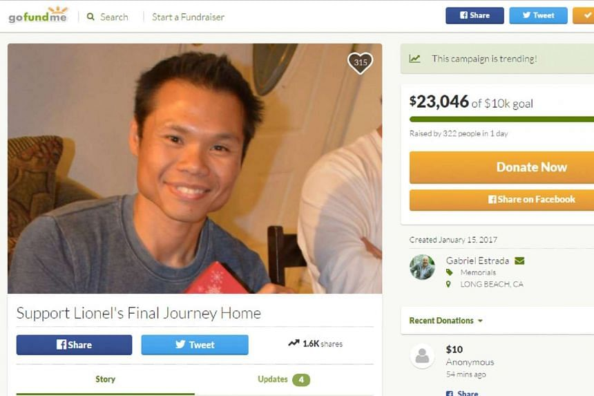 More than S$32,700 has been raised to bring Mr Tan back to Singapore.
