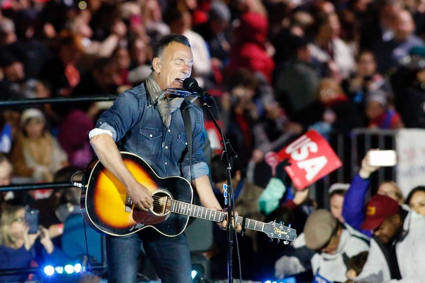 Bruce Springsteen performing during a rally in suport of Democratic presidential nominee Hillary Clinton on Independence Mall in Philadelphia, Pennsylvania, on Nov 7, 2016.