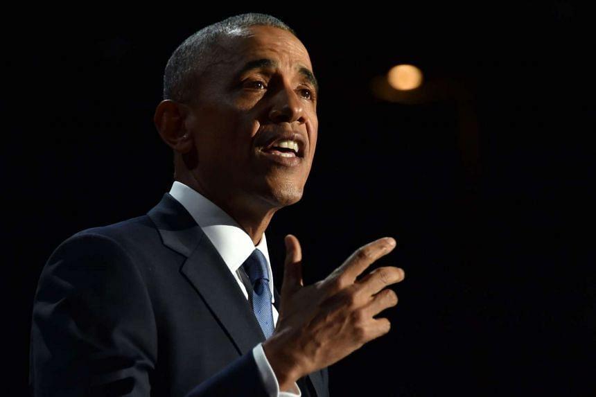 US President Barack Obama speaking during his farewell address in Chicago, Illinois on Jan 10, 2017.