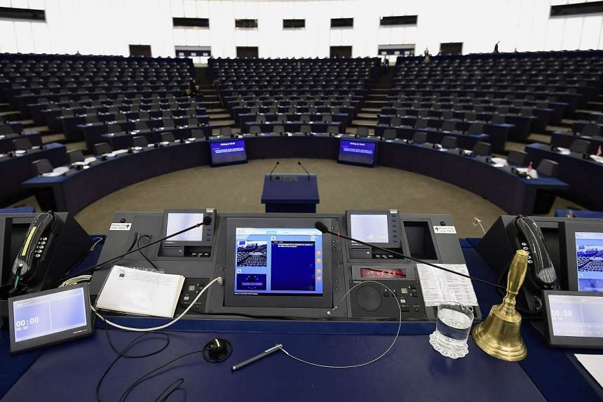 The European Parliament President's desk before the announcement of the candidates for election to the office of the President.