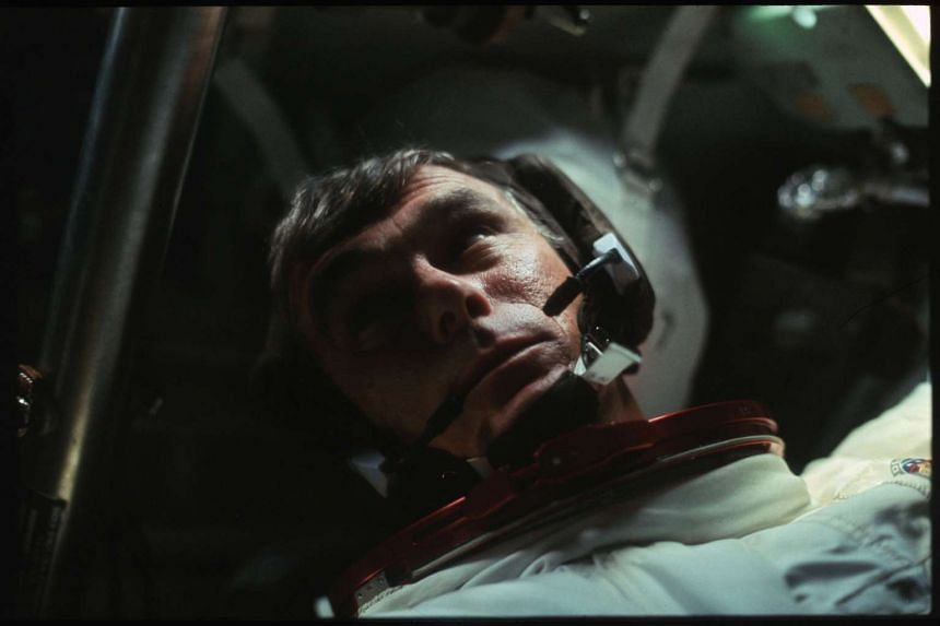 Astronaut Gene Cernan in the Command Module during the outbound trip from the moon during the Apollo 17 mission in December 1972.