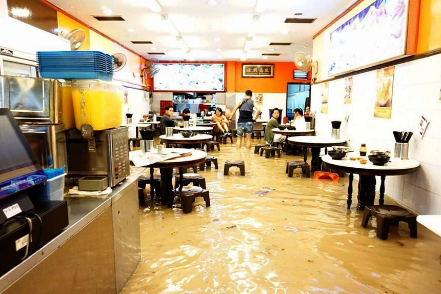 Ming Fa Fishball was one of the shops affected from the flood at Upper Thomson Road on Dec 24, 2016.