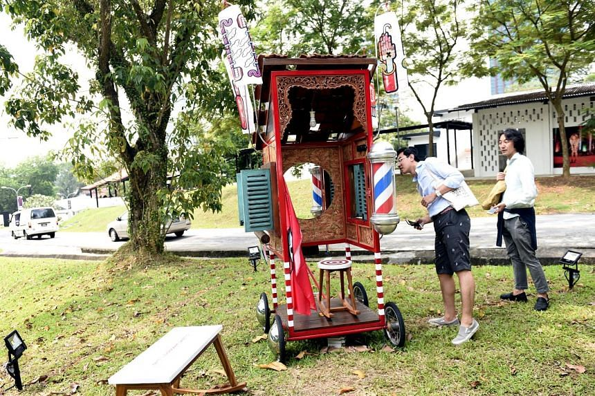 Goyang Cukur, an installation of a mini barber shop on wheels by Indieguerillas, one of the 16 outdoor artworks.