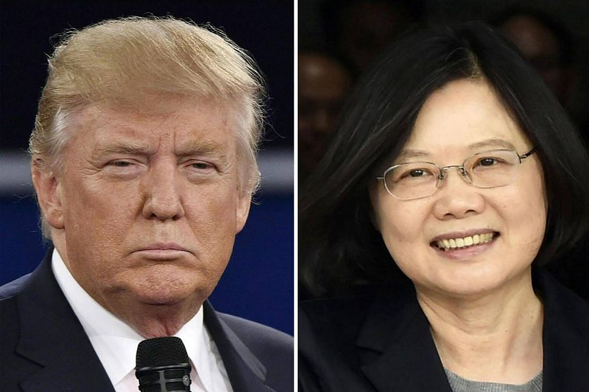 A combination file photo showing Republican presidential candidate Donald Trump (left) in St. Louis, Missouri on Oct 9, 2016 and Taiwan's President Tsai Ing-wen in Panama City on June 27, 2016.