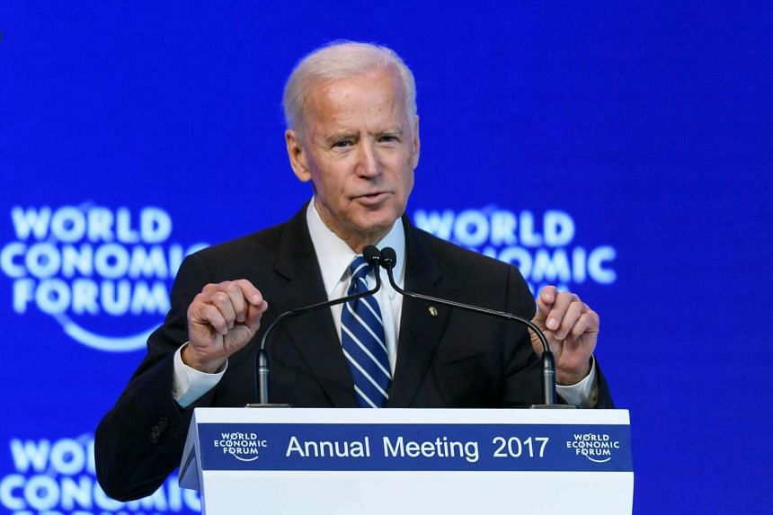Outgoing US Vice-President Joe Biden addresses the assembly on the second day of the World Economic Forum, on Jan 18, 2017 in Davos.