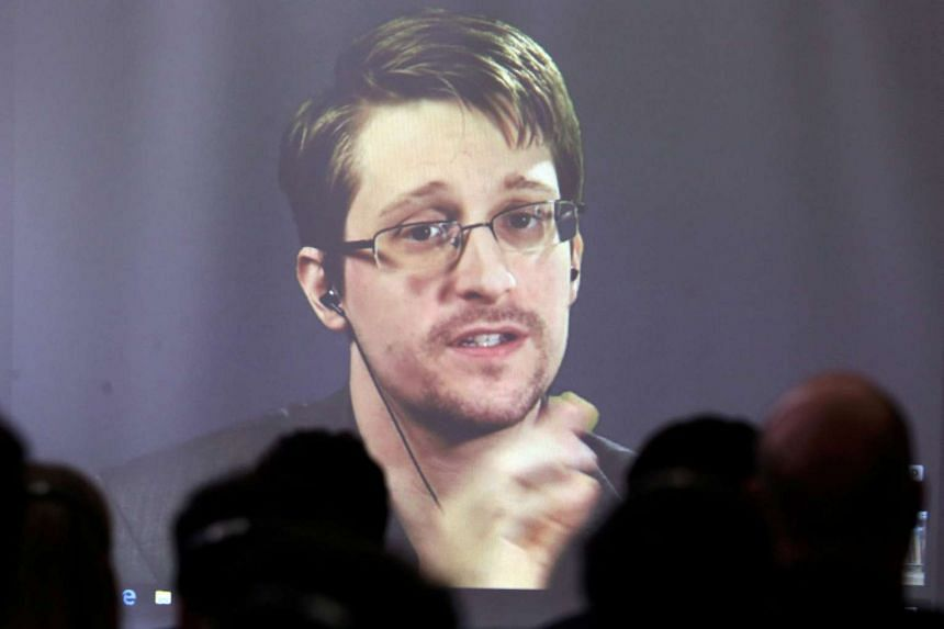 Edward Snowden speaks via video link during a conference at University of Buenos Aires Law School, Argentina on Nov 14, 2016.