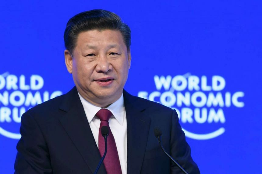 China's President Xi Jinping delivering a speech on the opening day of the World Economic Forum, on Jan 17, 2017 in Davos.