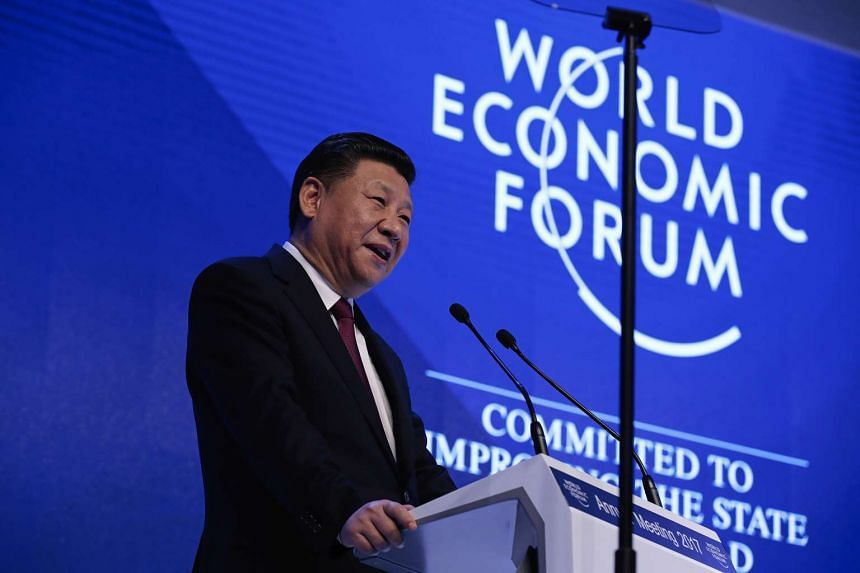 Chinese President Xi Jinping speaks during the opening plenary session of the World Economic Forum (WEF) annual meeting in Davos, Switzerland, on Jan 17, 2017.
