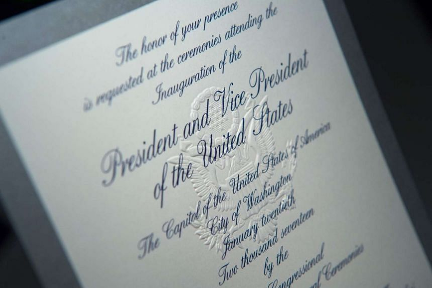 An invitation to the 58th Presidential inauguration for Donald Trump is pictured in Washington DC, on Jan 17, 2017.