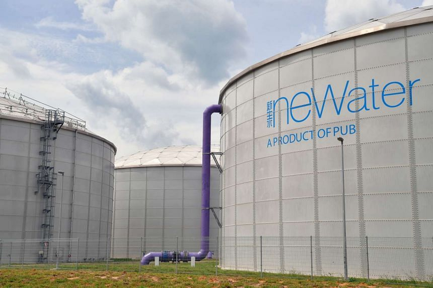 Newater tanks are seen at the new Changi facility.