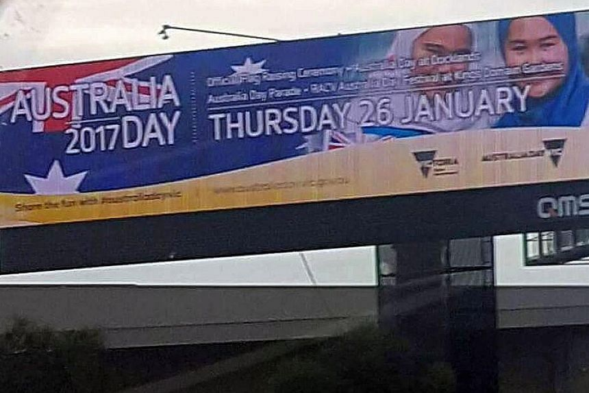 The billboard is one of a dozen paid for by the Victoria state government advertising a festival in a park on Australia Day, the country's national day which falls on Jan 26.