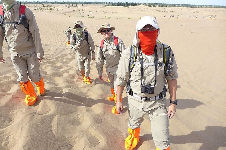 Trekking under the desert sun in China is part of training for TSIB investigators to learn to deal with harsh and extreme weather conditions. During the China trek, they were taught how to protect themselves and their equipment against heat and fine