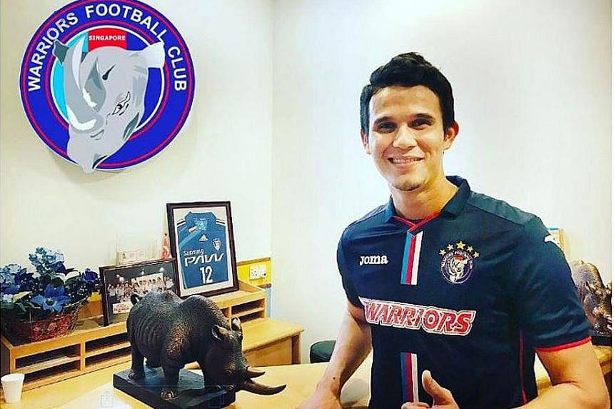 Baihakki Khaizan giving the thumbs-up after finally signing for an S-League club to be able to play close to his family next season.