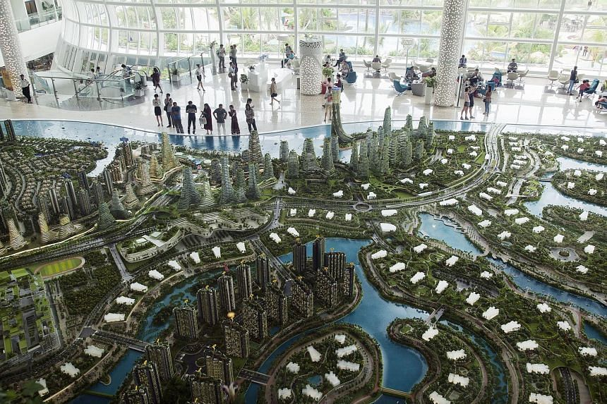 A model of the Forest City property development. The project, helmed by a Chinese mega-developer and a company controlled by the Johor ruler, is at the heart of a feud over the sale of land to companies from China.