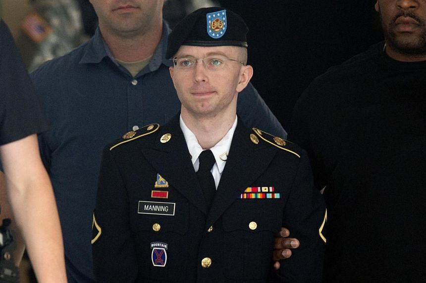 This file photo taken on July 30, 2013 shows US Army Private First Class Bradley Manning leaving a military court facility after hearing his verdict in the trial at Fort Meade, Maryland.
