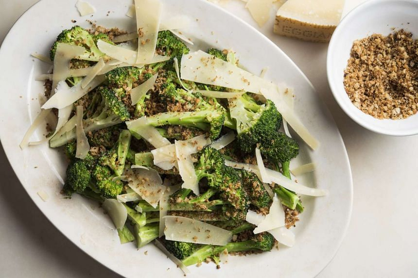 Peppery breadcrumbs lend crunch to a dish of butter-steamed broccoli.