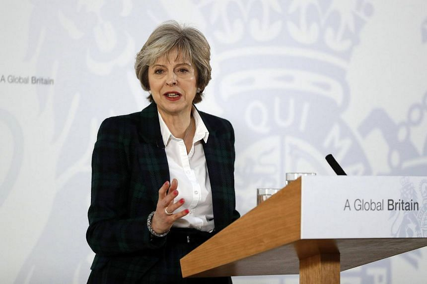 British Prime Minister Theresa May delivers a speech on the government's plans for Brexit at Lancaster House in London, on Jan 17, 2017.