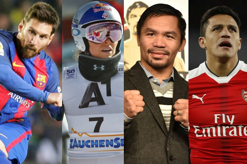 (From left) Lionel Messi, Lindsey Vonn, Manny Pacquiao and Alexis Sanchez have all been under the spotlight in recent years regarding their tax practices.