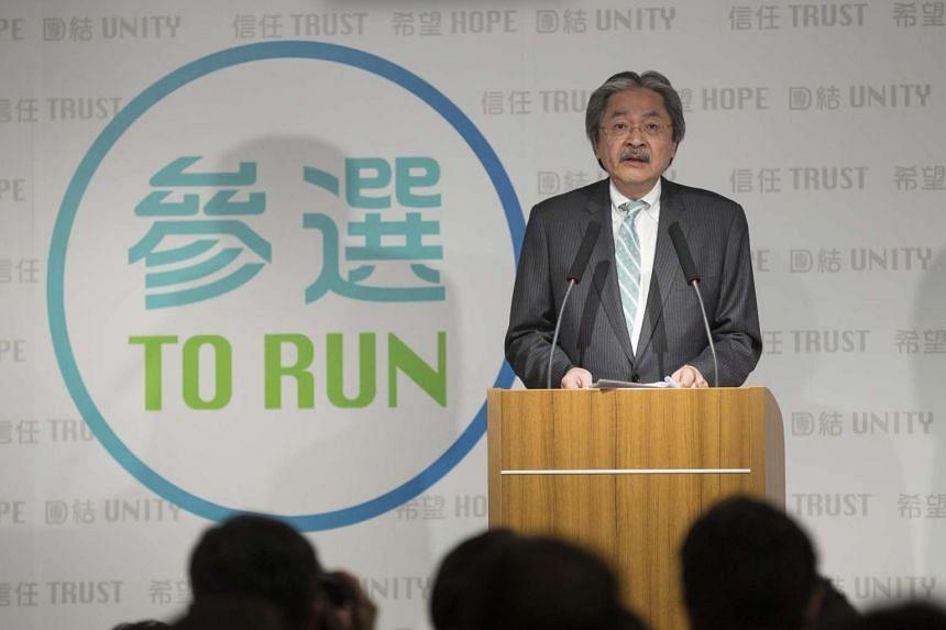 Hong Kong's former Financial Secretary John Tsang speaks during a press conference in Hong Kong on Jan 19, 2017.