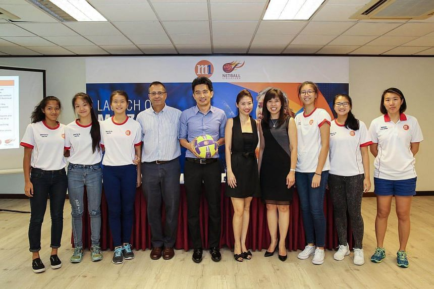 Cyrus Medora, CEO of Netball Singapore, Mr Ivan Lim, Director, Corporate Communications, M1, Ms Petrina Teoh, Assistant General Manager, Corporate Communications & Investor Relation, Ms Jessica Tan, Member of Parliament & President of Netball Singapo