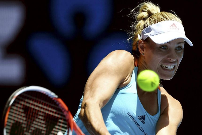 Angelique Kerber of Germany in action against Carina Witthoeft of Germany during round two of the Women's Singles at the Australian Open Grand Slam tennis tournament in Melbourne, Victoria, Australia on Jan 18, 2017.