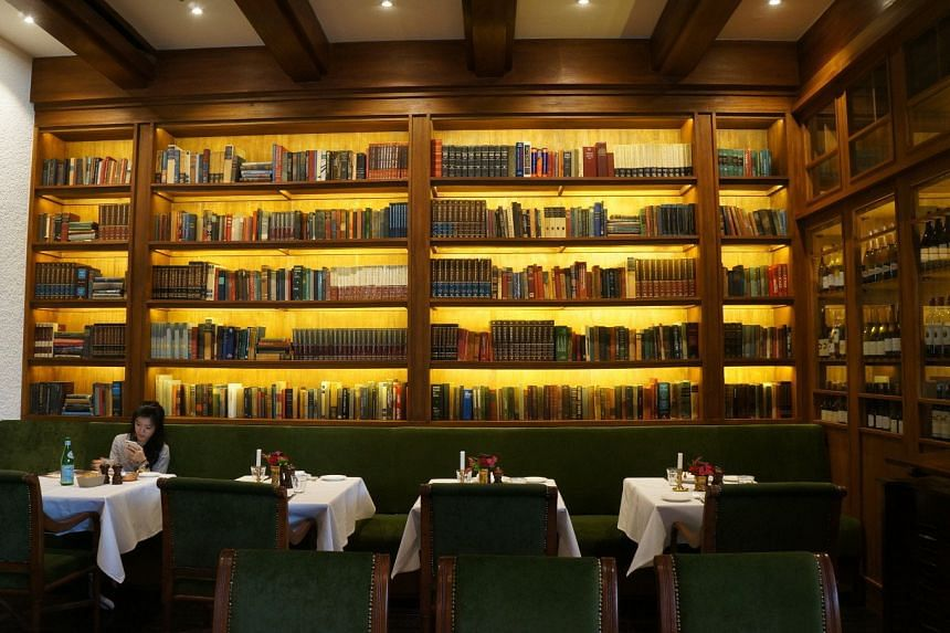 Bookshelves at the Bistecca steakhouse, south Jakarta.
