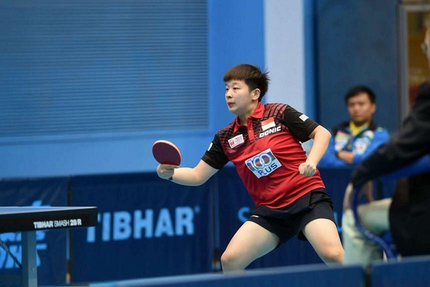 Zeng Jian beat team-mate Lin Ye 11-8, 11-7, 11-7 in the all-Singapore final.