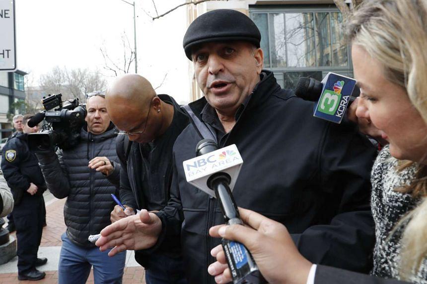 Noor Salman's uncle, Al Salman. responds to media questions outside Oakland Federal Court, Jan 17, 2017.