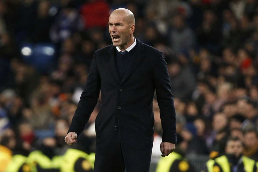 Real Madrid coach Zinedine Zidane reacting on the sidelines during his team's match against Celta Vigo on Jan 18, 2017.