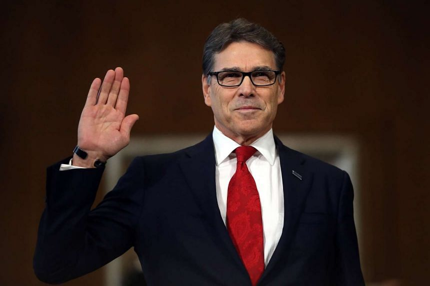 Former Texas Governor Rick Perry is sworn in before testifying at a Senate Energy and Natural Resources Committee hearing on his nomination to be Energy secretary on Capitol Hill in Washington, US on Jan 19, 2017.