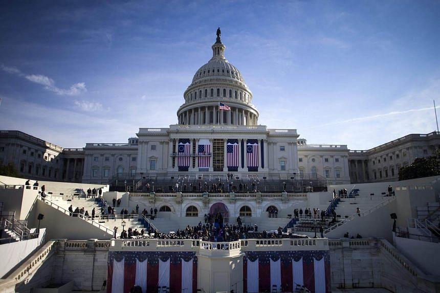 The US Capitol during the dress rehearsal for President-elect Trump's inauguration at the US Capitol in Washington, DC.