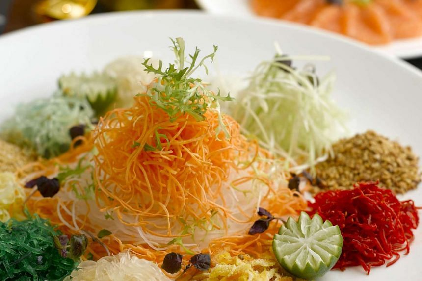 Fortune Yu Sheng (with salmon and crispy white bait) from Golden Peony at Conrad Centennial Singapore.
