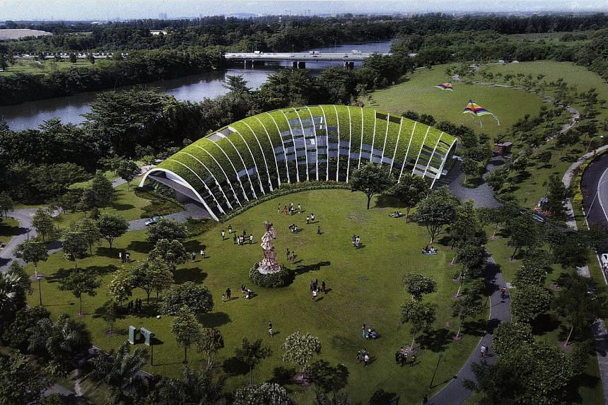 An artist's impression of the Sengkang childcare centre in Sengkang Riverside Park. The two-storey campus, said to be the first centre to be built in a park, has a built-up area of 3,600 sq m, almost four times the size of an average childcare centre