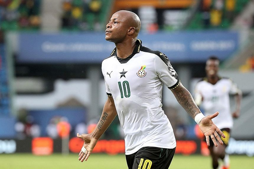 Ghana's Andre Ayew celebrates scoring a penalty against Uganda in their Africa Cup of Nations group clash. It proved to be the only goal of the match as teams struggle to find the net throughout the tournament.