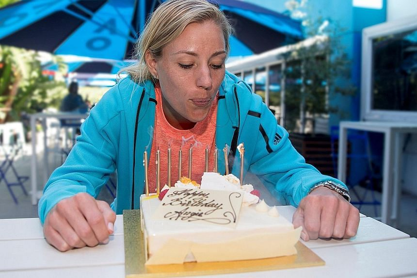 It was no cakewalk for birthday girl Angelique Kerber in the second round of the Australian Open, with the women's top seed and defending champion dropping a set against world No. 89 Carina Witthoeft. Kerber celebrated her 29th birthday with a shaky