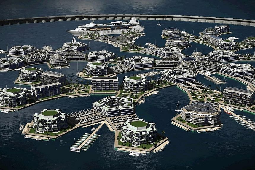 Artisanopolis (above and right) is one of the winning architectural designs for the Seasteading Institute's floating city project.