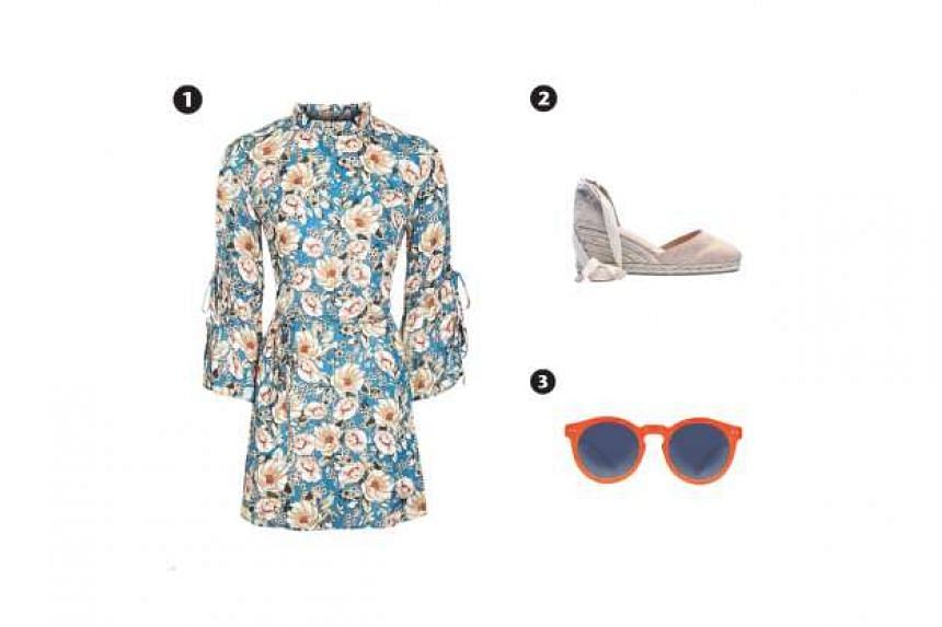 1. Peony blush tie-sleeve dress, 2. Pink espadrille Carina wedges, 3. Creys tangelo orange sunglasses