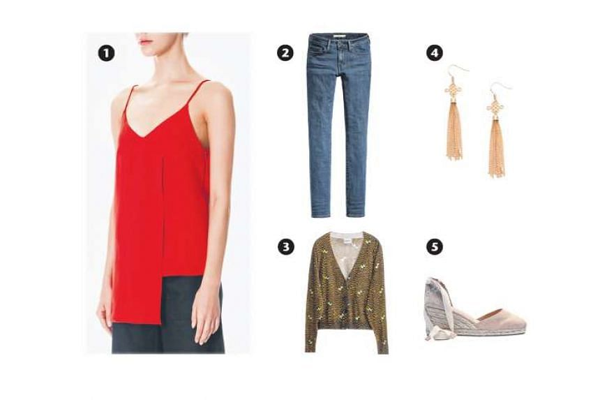 1. Red overlap camisole top, 2. Ladies 712 slim jeans, 3. Cardigan with ray print, 4. Gold tassel earrings, 5. Pink espadrille Carina wedges