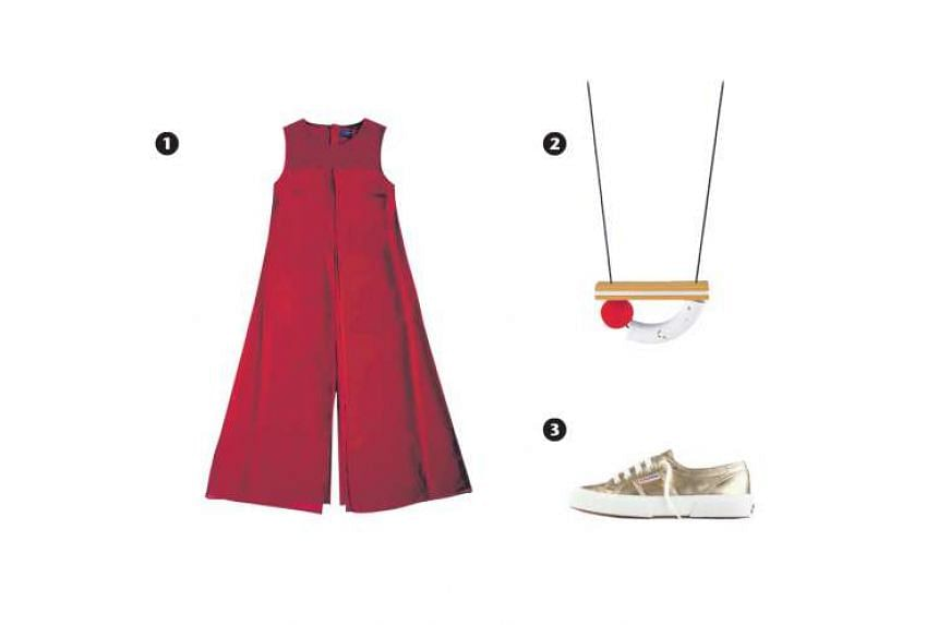 1. Red jumpsuit, 2.Knack white and vermillion necklace, 3. 2750 Cotmetu metallic gold sneakers